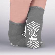 Unisex Non-Skid Sole Wide Calf Bariatric Slipper Socks - Black & Gray