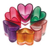 Glass Hearts Tea Light Holders