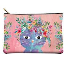 Fancy Floral Cat Zipper Pouches