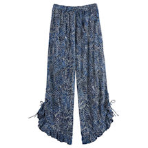 Indigo Batik Ruffle-Edged Pants
