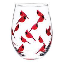 Birds Stemless Glass Set of 4 - Cardinals