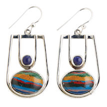 Rainbow Calsilica and Lapis Earrings