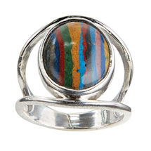 Rainbow Calsilica and Lapis Ring