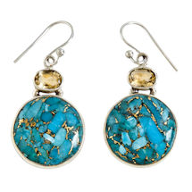 Copper Turquoise and Citrine Earrings