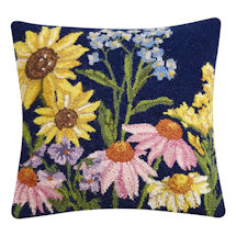 Hand-Hooked Wildflowers Pillow Style 1