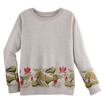 Lotus Flowers Border Print Crewneck Sweatshirt