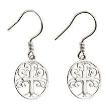 Tree of Life Cross Earrings