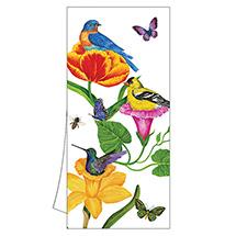 Birds and Flowers Tea Towel