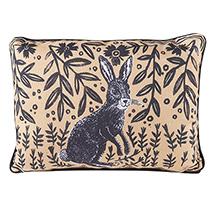 "Woodblock Woodland Animals Pillow - Rabbit (18"" x 13"")"