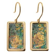 Gustav Klimt/Vincent Van Gogh Gold-Flecked Earrings