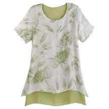 Summer Leaves Short Sleeve Tunic - Green