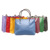 Faux Leather Ostrich Tote Bag