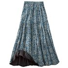 Reversible Blue Lagoon/Black Broomstick Skirt