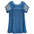 Lattice Cutwork Rhinestone Embellished Crinkled Top