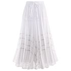 Tone-On-Tone Embroidered Full Circle Maxi Skirt