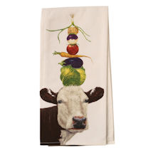 Country Critters In Hats Tea Towels - Cow