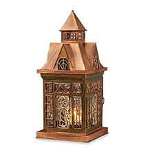 Glass Panel Candle Lantern Architectural Design in Metal Frame - Ellington