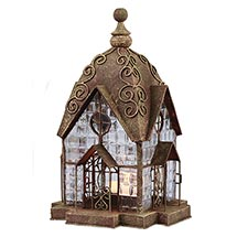 Glass Panel Candle Lantern Architectural Design in Metal Frame - Windale