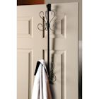 Overdoor Hanging Coat Rack - 10 Hooks - Wrought Iron Metal Look