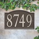"Art & Artifact by Whitehall Personalized Cast Metal Address Plaque - 11"" x 7.25"" Custom House Number Sign - Arched Rectangle with DIY Self-Adhesive Zinc Numerals"