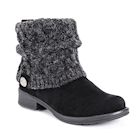 Muk Luks Women's Patrice Cable Knit Cuff Heel Booties - Black