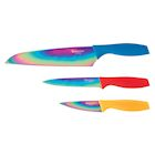 Hampton Forge Tomodachi 3 Piece Knife Set with 3 Blade Guards - Rainbow Titanium Coated Kitchen Chef, Utility, and Paring Knives