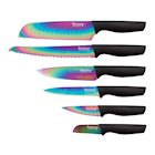 Hampton Forge Tomodachi 6 Piece Cutlery Set -Titanium Coated Rainbow Blades with Colorful Handles - Kitchen Santoku, Bread, All Purpose, Utility, and Paring Knives