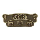 Whitehall Personalized Pet Name Dog Bone Wall Sign with 3 Leash Hooks