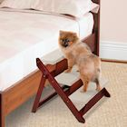 Support Plus Folding Wood Pet Step Ramp - Convertible Mobility Support for Animals - Mahogany Finish