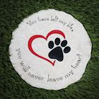 Pawriffic Round Pet Memorial Garden Stone and Wall Hanging - Indoor/Outdoor Heart and Paw Print Plaque for Dog or Cat