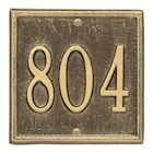 "Whitehall Personalized Cast Metal Address Plaque - Petite Square 6"" x 6"" House Number Sign - Allows Special Characters"