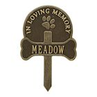 Whitehall Paw and Bone Personalized Pet Memorial Yard Sign - Remembrance Grave Marker and Garden Stake
