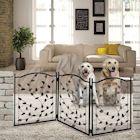 Etna 3-Panel Leaf Design Metal Pet Gate - Decorative Tri Fold Dog Fence