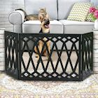 Etna 3-Panel Diamond Design Wood Pet Gate - Decorative Tri Fold Dog Fence - Black