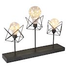 "Circleware 3 LED Bulb Desk and Table Lamp - Cordless Black Metal and String Light Accent Lighting - 12"" Tall"
