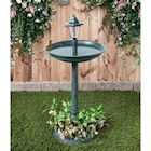 Trenton Gifts Weather Resistant Bird Bath with Solar Lamp and Planter - Green Outdoor Lawn and Garden Accent with LED Light Topper and Flower Pot