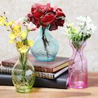 ART & ARTIFACT 3 Piece Small Decorative Glass Vase Set - Pink, Aqua Blue and Green Jewel Tone Flower Holders