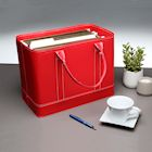 MSR Imports Chic Hanging File Folder Organizer Tote - Portable Document Storage Bag with Carry Handles - Red
