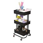 Darice 3-Tiered Metal Rolling Storage Cart - Matte Black Craft Supply Organizer for Home, Office, Art or School Supplies