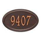 "Whitehall Personalized Address Plaque - Custom 1-Line Cast Aluminum Concord Oval House Number Wall Sign (15""W x 9.5""H)"