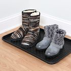 "Great Working Tools Boot Trays - Set of 2 Black All Weather Heavy Duty Shoe Trays, Dog Bowl or Cat Bowl Mats Trap Mud, Water and Pet Food Mess to Protect Floors - 23.75"" x 15.5"" x 1.25"""