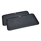 "Great Working Tools Boot Trays - Set of 2 Black All Weather Heavy Duty Shoe Trays, Dog Bowl or Cat Bowl Mats Trap Mud, Water and Pet Food Mess to Protect Floors - 30"" x 15"" x 1.2"""
