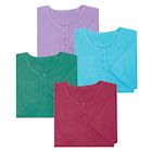 Women's Long Henley Nightshirts - Set of 4 - Plus Size Comfortable Pajama Sleep Shirts