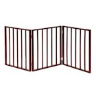 "Home District Freestanding Pet Gate, Solid Wood 3-Panel Tri-Fold Folding Dog Gate Dog Fence for Doorways Stairs Decorative Pet Barrier - Mahogany Traditional Slat, 54"" x 24"""