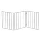 "Home District Freestanding Pet Gate, Solid Wood 3-Panel Tri-Fold Folding Dog Gate Dog Fence for Doorways Stairs Decorative Pet Barrier - White Traditional Slat, 54"" x 24"""