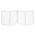 "Home District Freestanding Pet Gate, Solid Wood 3-Panel Tri-Fold Folding Dog Gate Dog Fence for Doorways Stairs Decorative Pet Barrier - White Traditional Slat, 71"" x 27"""
