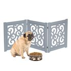 "Home District Freestanding Pet Gate, Solid Wood 3-Panel Tri-Fold Folding Dog Gate Dog Fence for Doorways Stairs Decorative Pet Barrier - Grey Scroll Design, 47"" x 19"""