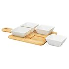 Home Essentials Tapas Serving Set - Square Bamboo Paddle Appetizer Tray with 4 Porcelain Bowls - White Ramekin Set