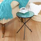 Folding Iron & Glass Aqua Mosaic Side Table