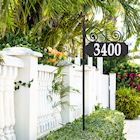 "Whitehall Reflective Address Post Sign - Nite Bright Scroll Double-Sided Black House Number Plaque - Pole Adjusts 41"" to 60 1/2"" Tall"
